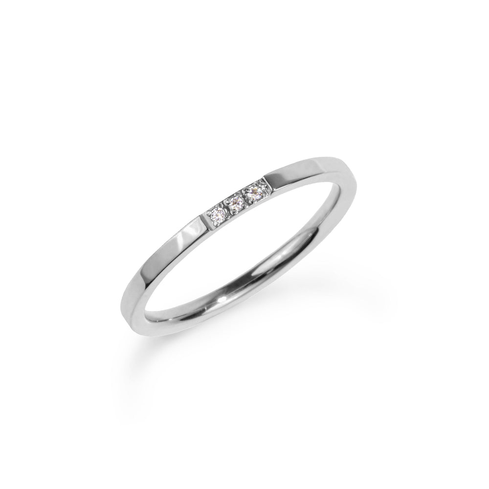 women stainless steel modern band ring 3 stones jonc moderne pierres femme acier inoxydable MIA T120R002