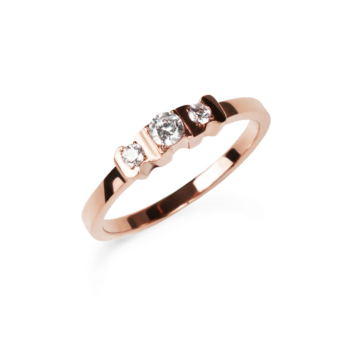 women stainless steel 3 stones proposal rose gold ring bague fiançailles pierres acier inoxydable or rose femme MIA T419R001DORO