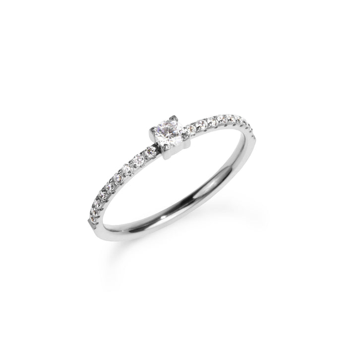 women stainless steel half eternity silver proposal ring bague fiançailles argent pierres acier inoxydable femme MIA  T120R006AR