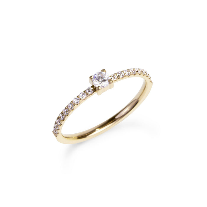 women stainless steel half eternity one big stone gold proposal ring bague fiançailles or pierres acier inoxydable femme MIA T120R006DO