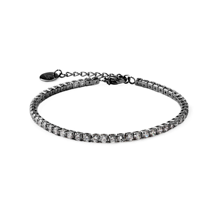 black bracelet full stones stainless steel