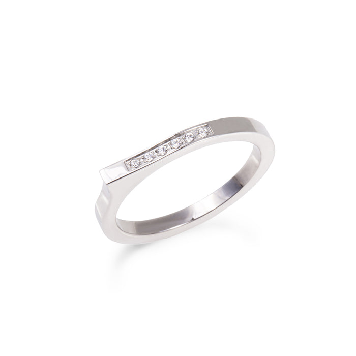 asymetric stones ring stainless steel bague acier inoxydable MIA T219R004