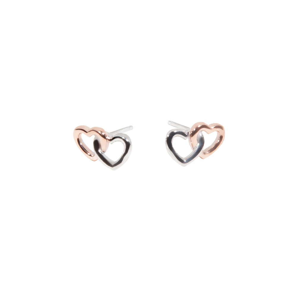 Rose gold Double heart stainless steel earrings boucles d'oreilles double coeur or rose acier inoxydable MIA