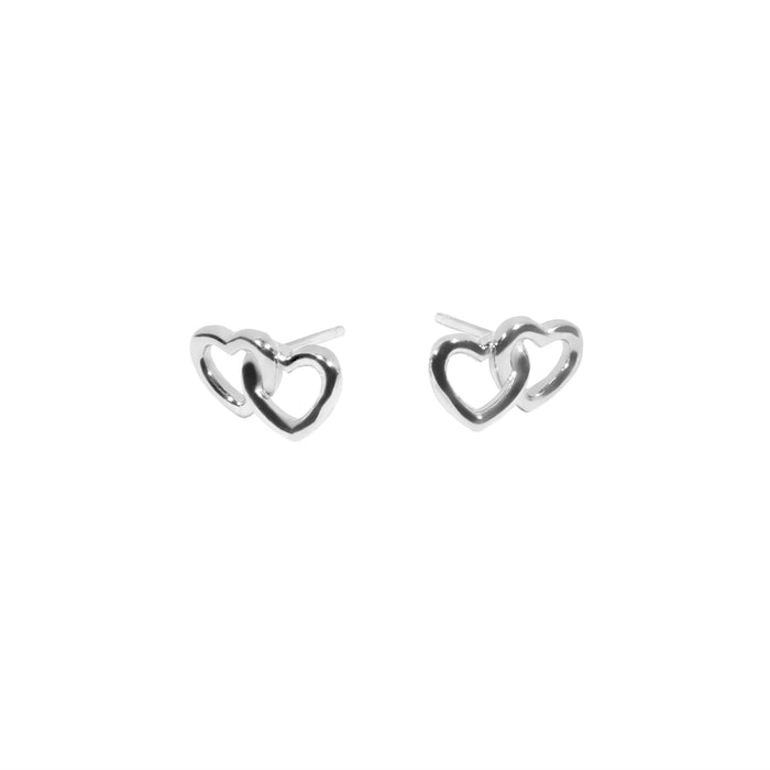 Double heart stainless steel earrings boucles d'oreilles double coeur acier inoxydable MIA