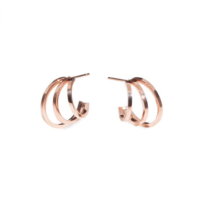 3 rows hoop earrings