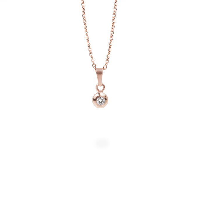Rose gold circle stone pendant necklace stainless steel pendentif or rose acier inoxydable MIA