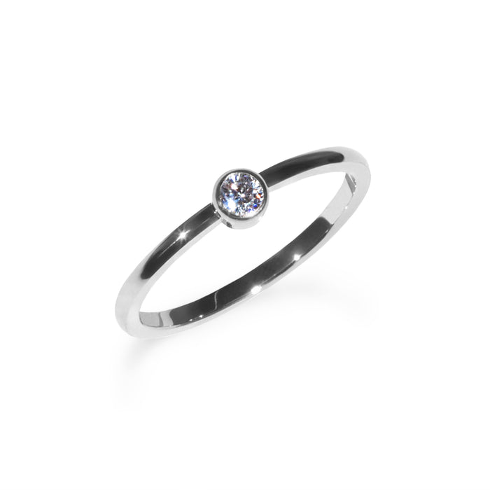Circle stone ring stainless steel Bague pierre ronde acier inoxydable MIA