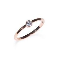 Rose gold circle stone ring stainless steel Bague or rose pierre ronde acier inoxydable MIA
