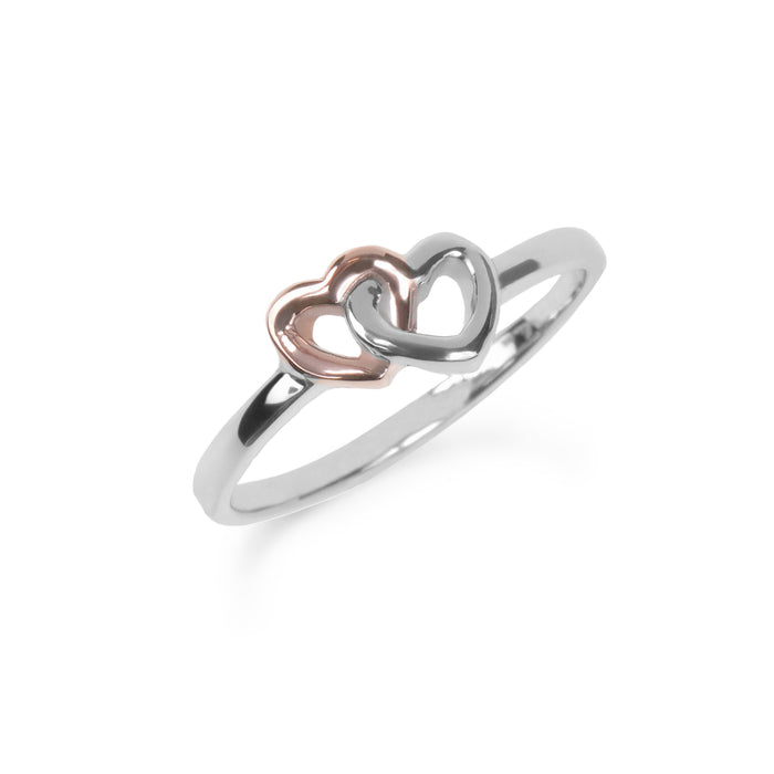 Rose gold double heart stainless steel ring bague double coeur or rose acier inoxydable MIA