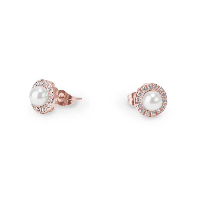 rose gold pearl stones stud earrings hypoallergenic T314E012DORO MIAJWL