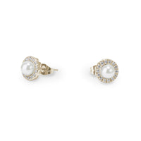 gold pearl stones stud earrings hypoallergenic T314E012DO MIAJWL