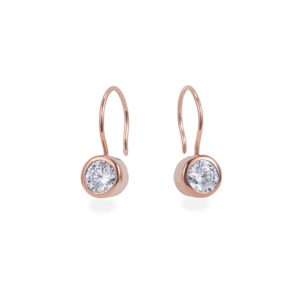 rose gold stone hook earrings stainless steel T318E001DORO MIAJWL