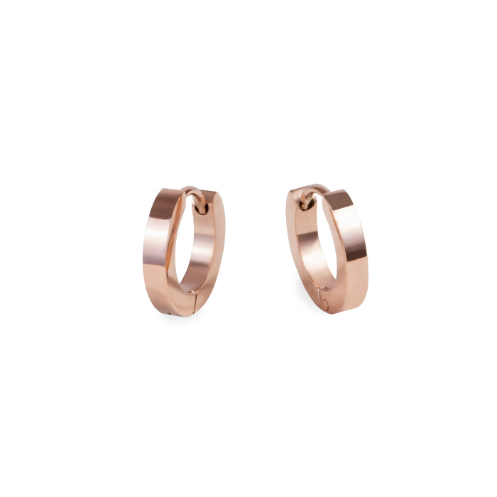 rose gold women small huggie earrings stainless steel hypoallergenic mia jewelry petites boucles d'oreilles or rose femme dormeuse acier inoxydable hypoallergénique T320E007