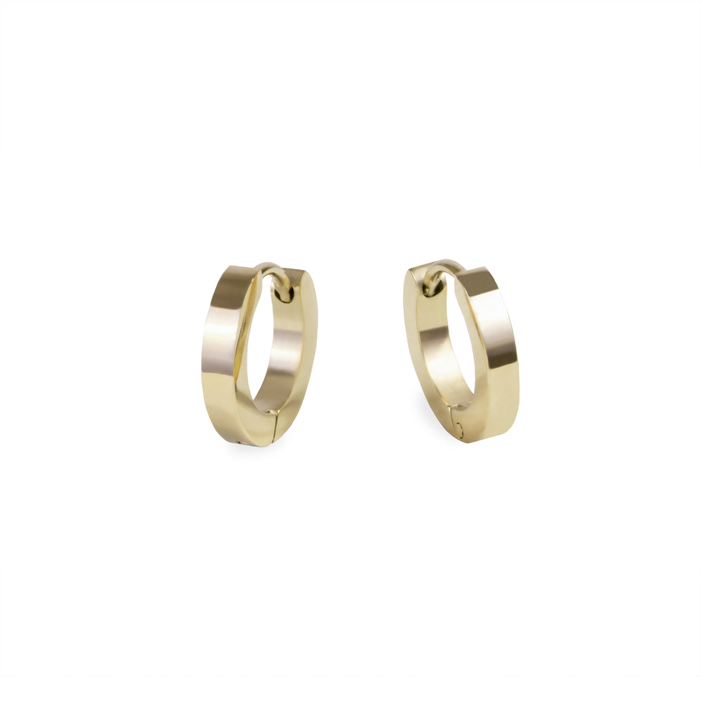 women small gold huggie earrings stainless steel hypoallergenic mia jewelry petites boucles d'oreilles or femme dormeuse acier inoxydable hypoallergénique T320E007