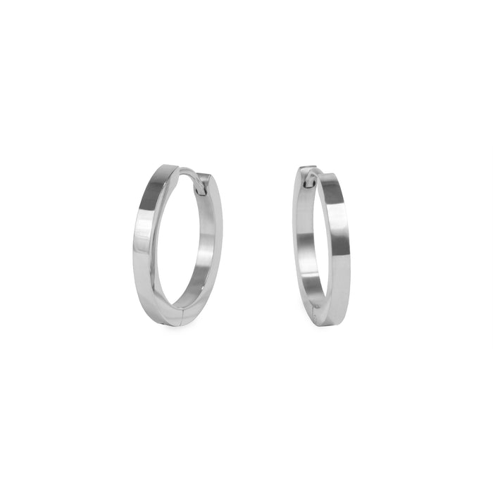 silver medium huggie earrings stainless steel hypoallergenic mia jewelry moyennes boucles d'oreilles argent femme dormeuse acier inoxydable hypoallergénique  T320E008