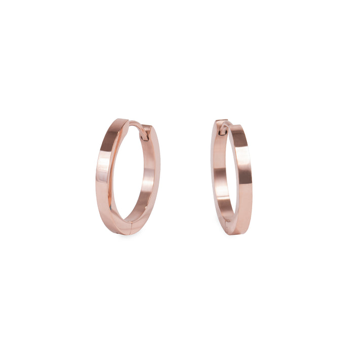 rose gold medium huggie earrings stainless steel hypoallergenic mia jewelry moyennes boucles d'oreilles or rose femme dormeuse acier inoxydable hypoallergénique  T320E008