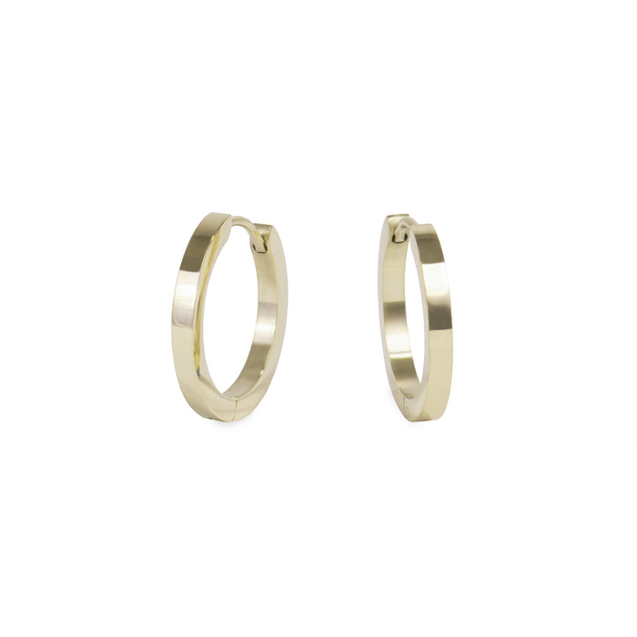 gold medium huggie earrings stainless steel hypoallergenic mia jewelry moyennes boucles d'oreilles or femme dormeuse acier inoxydable hypoallergénique  T320E008