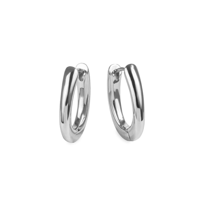 women stainless steel oval huggie earrings boucles oreilles anneaux ovales acier inoxydable MIA Jewelry T320E009