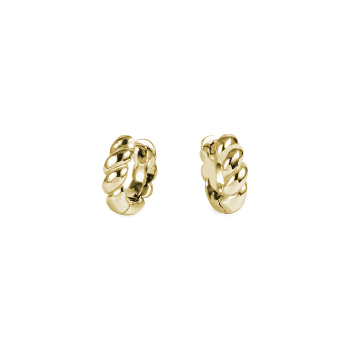 Gold croissant huggie earrings stainless steel hypoallergenic mia jewelry dôme boucles d'oreilles or femme dormeuse acier inoxydable hypoallergénique T320E011