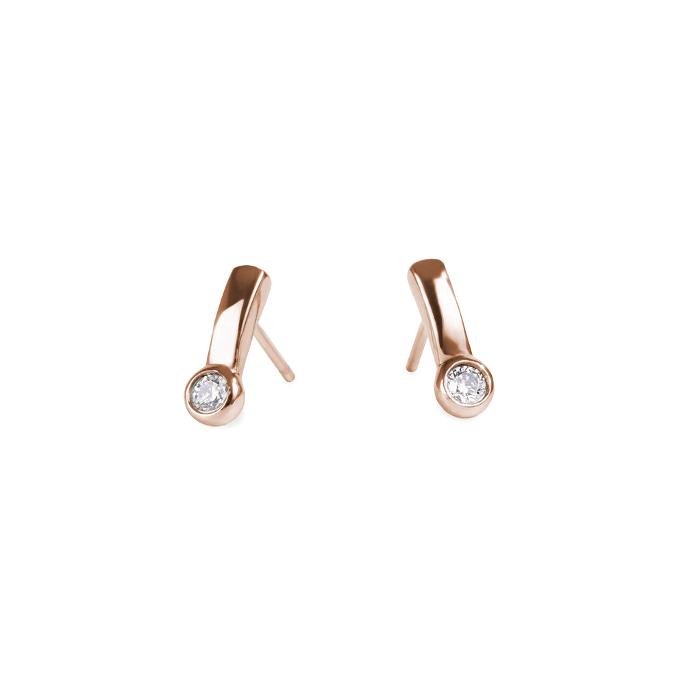 rose gold women stainless steel bar stud earrings with set cz mia jewelry boucles oreilles or rose zircon cubic acier inoxydable T320E012