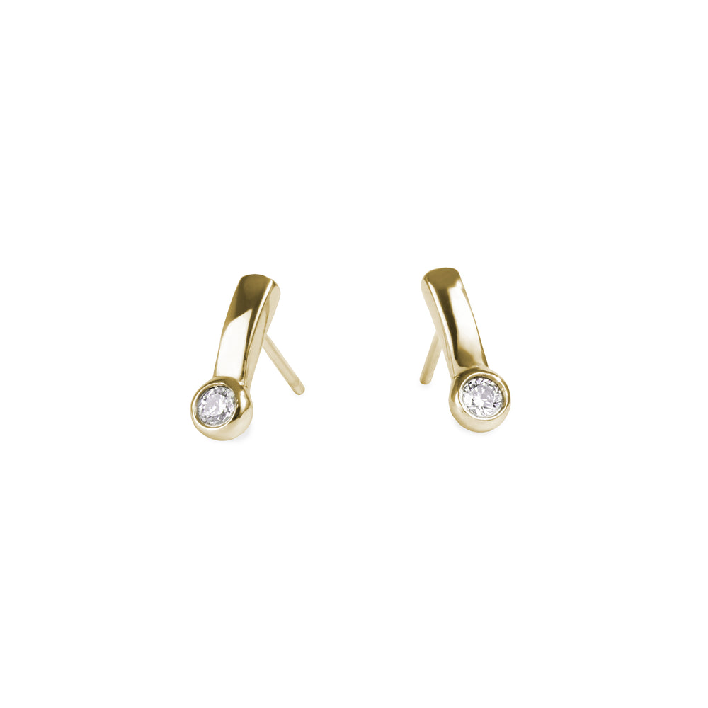 gold women stainless steel bar stud earrings with set cz mia jewelry boucles oreilles or zircon cubic acier inoxydable T320E012