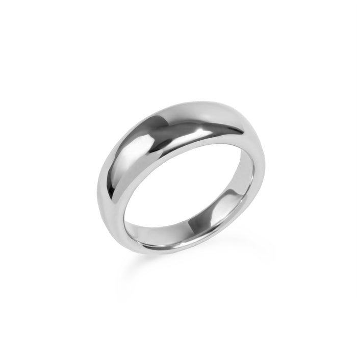 Stainless steel hypoallergenic puffy dôme ring mia jewelry bague argent femme acier inoxydable hypoallergénique
