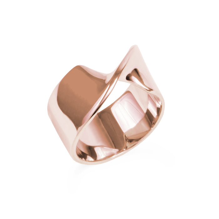 Rose gold Stainless steel hypoallergenic twisted statement ring mia jewelry bague torsade or rose femme acier inoxydable hypoallergénique T320R007