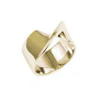 Gold Stainless steel hypoallergenic twisted statement ring mia jewelry bague torsade or femme acier inoxydable hypoallergénique T320R007