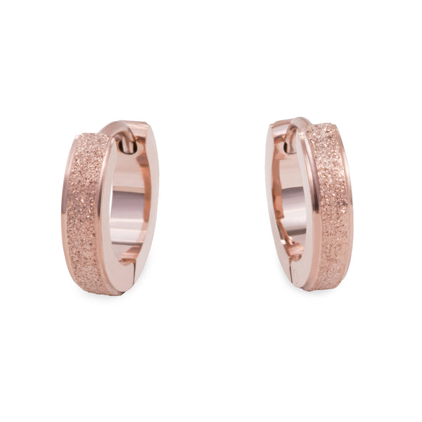 hypoallergenic rose gold glitter huggie earrings T411E036DORO