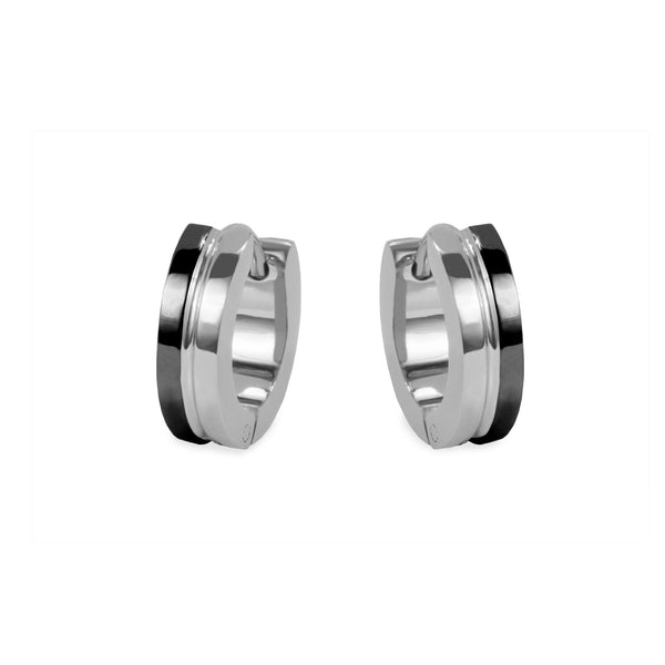 black silver unisex hypoallergenic huggie earrings T411E053ARNO MIAJWL