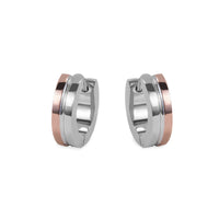rosegold and silver hypoallergenic huggie earrings T411E053ARRO MIAJWL