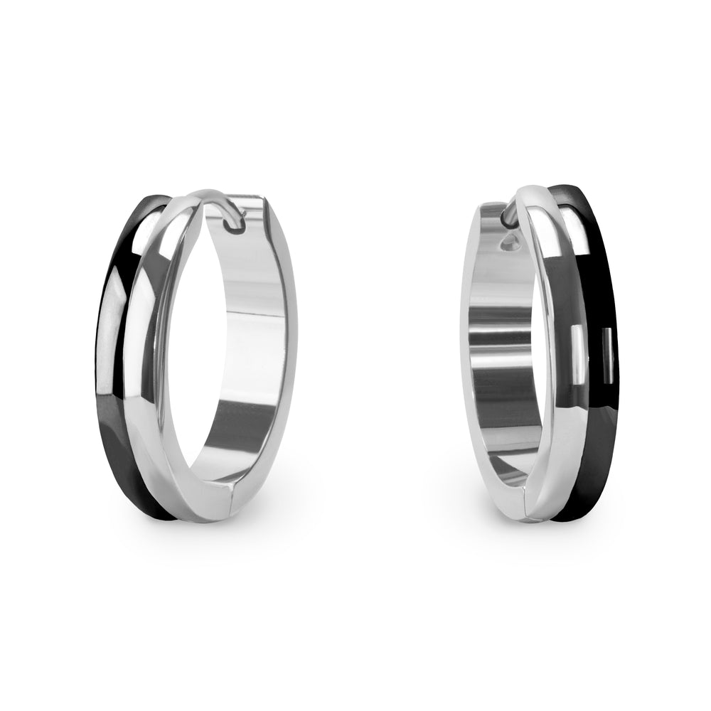 black silver hypoallergenic hoop earrings T411E055ARNO MIAJWL