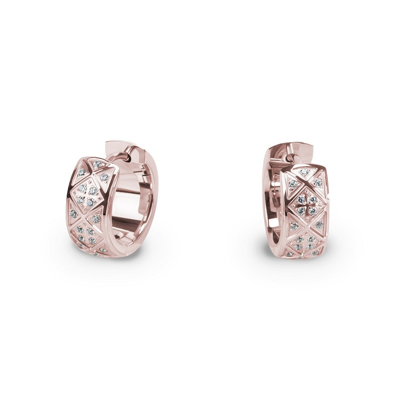 chic rose gold huggie earrings stainless steel T416E009DORO MIAJWL