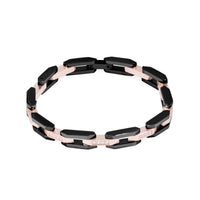 Black and rose gold bracelet for women with stones- T418B003DONO