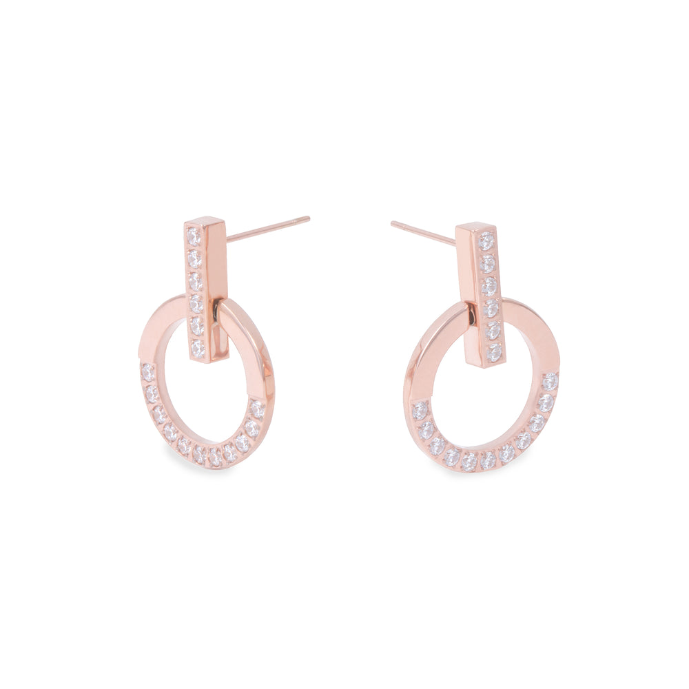 hypoallergenicv rose gold earrings with stones T418E004DORO MIA