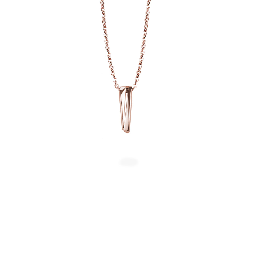 minimal edgy rose gold pendant stainless steel women