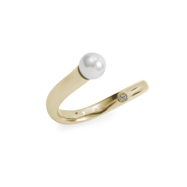 minimal pearl stone ring gold stainless steel