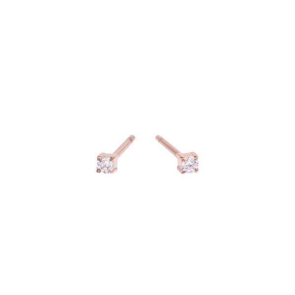 rose gold 2mm cubic zirconia stud earrings stainless steel MIA boucles d'oreilles pierre or rose T419E001DORO