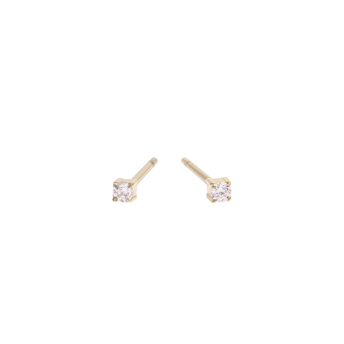 gold 2mm cubic zirconia stud earrings stainless steel MIA boucles d'oreilles pierre or T419E001DO
