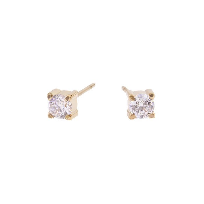 gold 4mm cubic zirconia stud earrings stainless steel MIA boucles d'oreilles pierre or T419E002DO