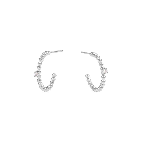 small beads hoop earrings stone stainless steel MIA petites boucles d'oreilles anneau billes pierre acier inoxydable T419E004