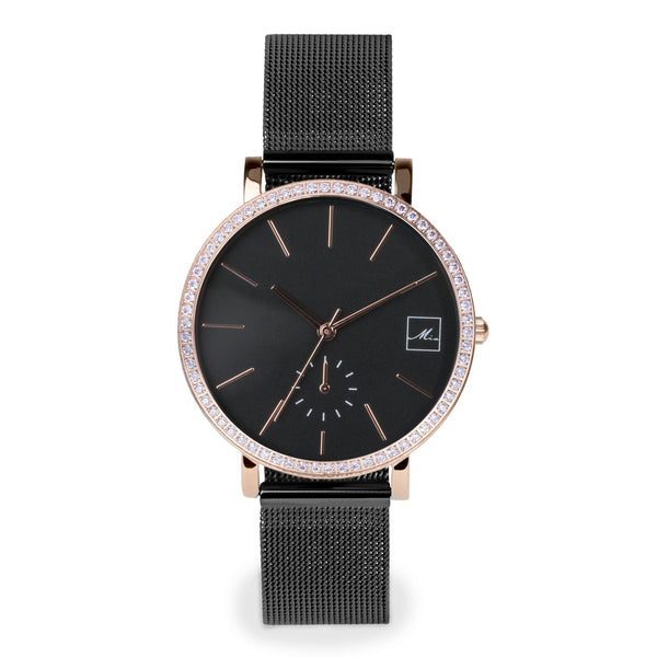 black minimal watch with stones MIAJWL