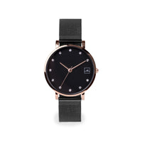 black small and minimal watch with stones stainless steel W119M02NORO MIA Jewelry