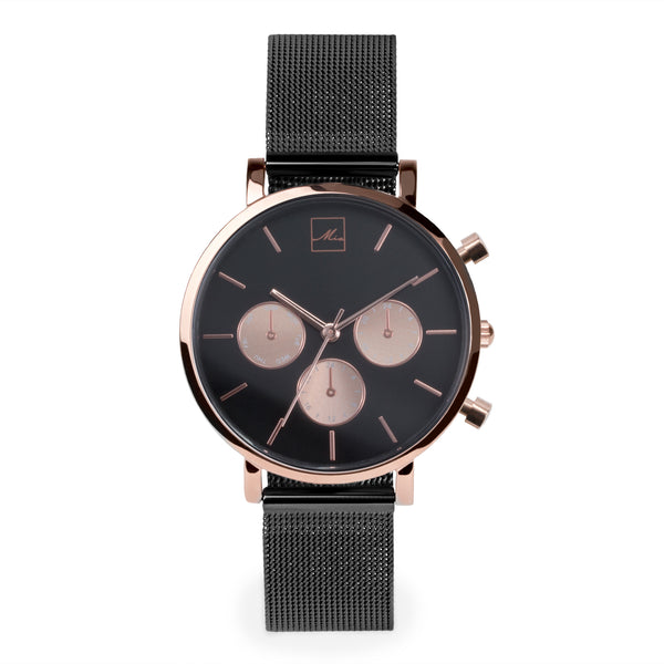 minimal black chrono watch women with rose gold