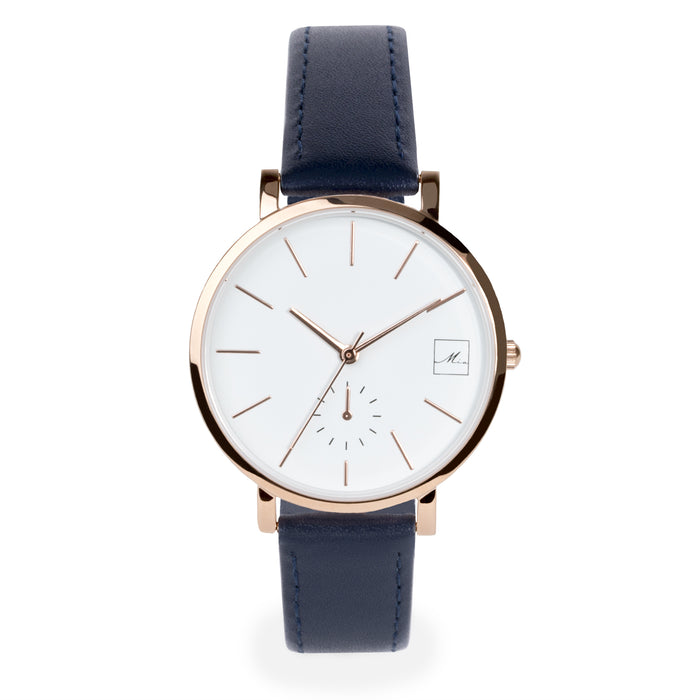 minimal navy leather watch for women