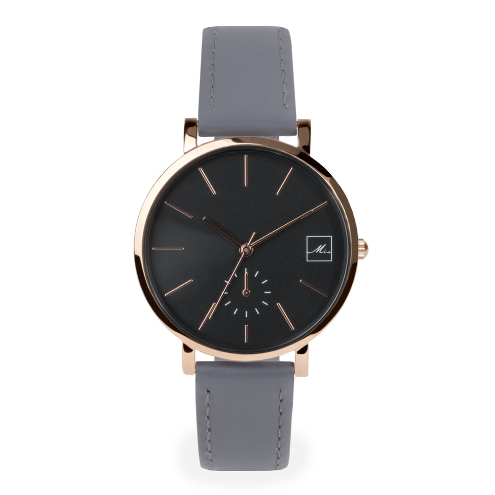 minimal grey leather watch for women