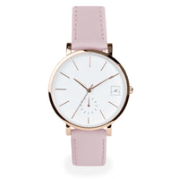 minimal light pink leather watch women