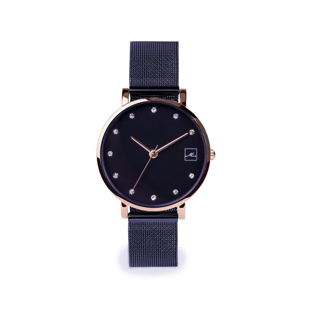 navy small and minimal watch with stones stainless steel W119M02BM MIA Jewelry