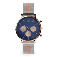 blue dial minimal chrono watch women