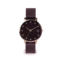 small plum watch with stones stainless steel W119M02MV MIA Jewelry